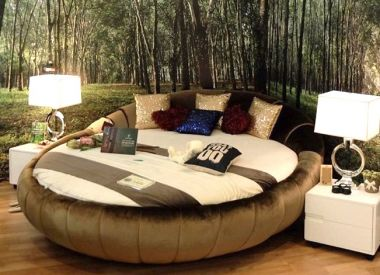 """Круглая кровать с матрасом из 100% натурального латекса """"Round Bed Coffee"""""""